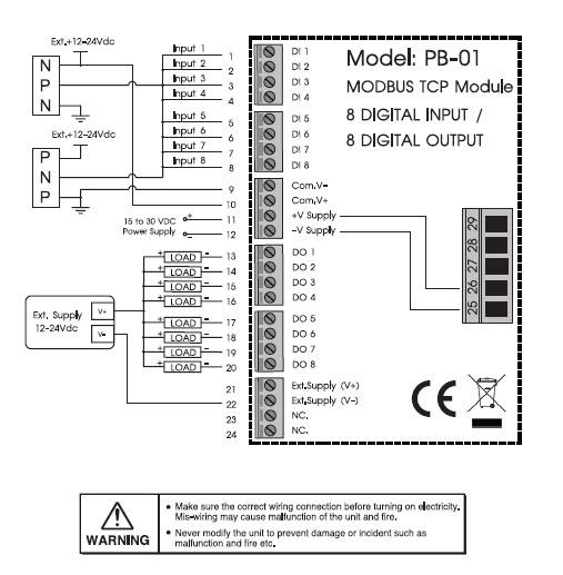 modbus tcp i  o module 8 digital input    8 digital output